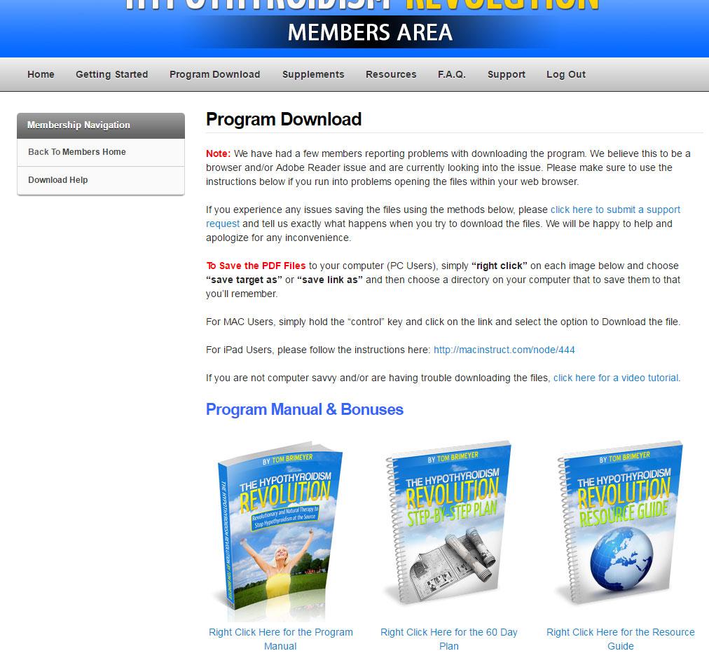 Hypothyroidism Revolution Members Area