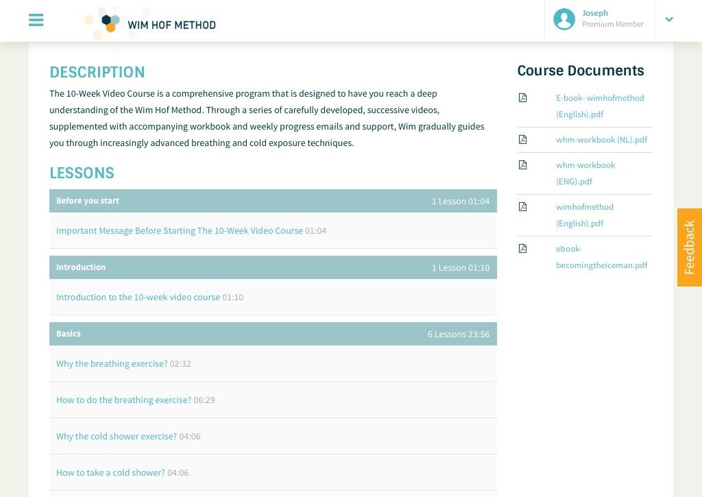 Wim Hof Method Course Dashboard