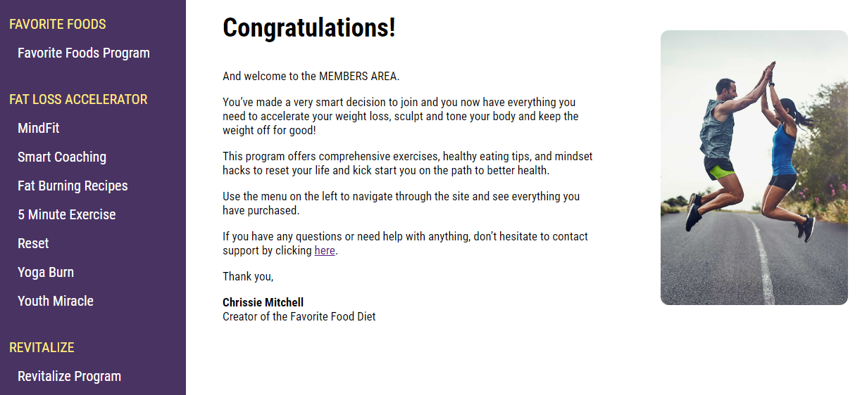 Welcome Page Member Area