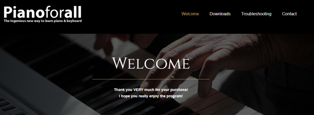 welcome page pianoforall
