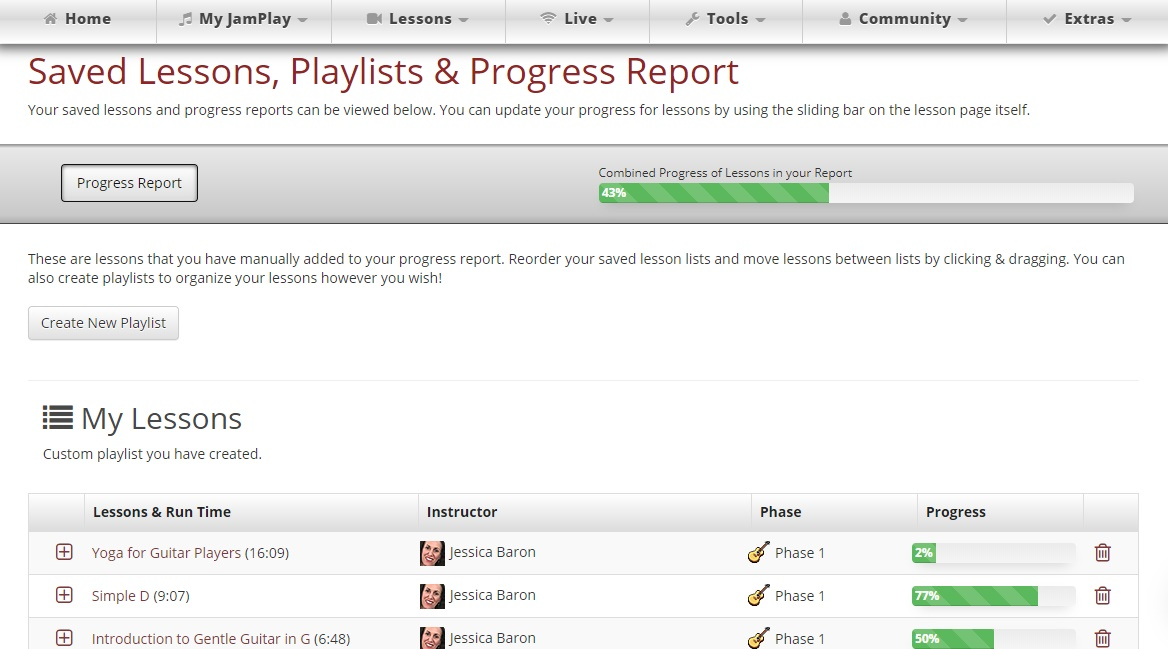 JamPlay review, progress report feature