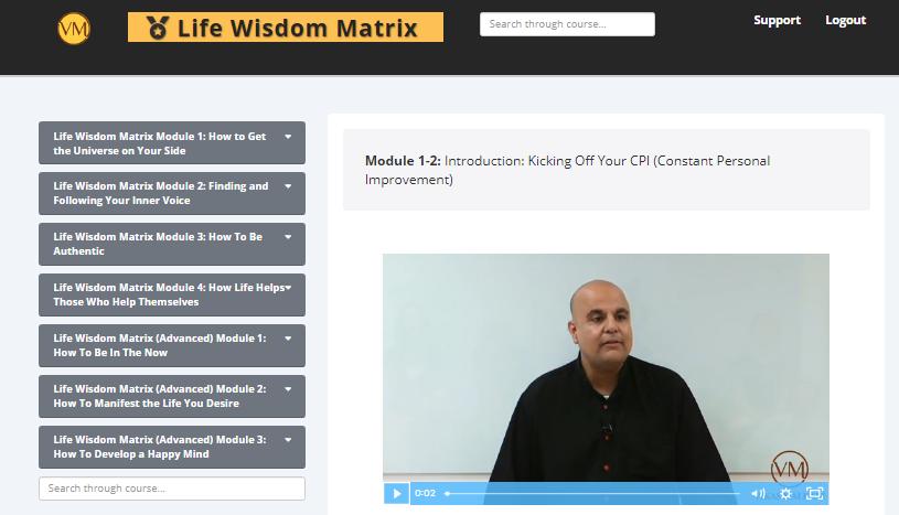 life wisdom matrix with vikas