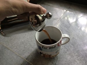 french press-ing Lifeboost Coffee