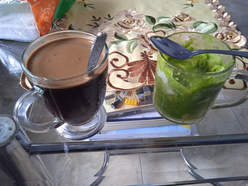 afternoon coffe for me, green avocado smoothie for my wife