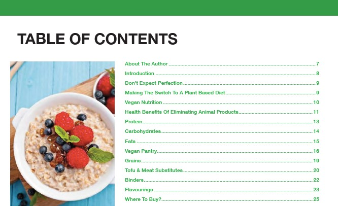 table of content plant based cookbook